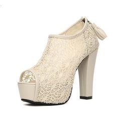 Kunstleder Stämmiger Absatz Peep Toe Stiefelette mit Reißverschluss Schuhe (088044537)