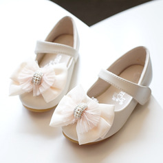 Ragazze Punta rotonda Punta chiusa Pelle microfibra Heel piatto Ballerine Scarpe Flower Girl con Bowknot Velcro (207172991)