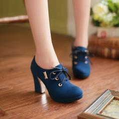 Naisten Mokkanahka Chunky heel Avokkaat Platform Suljettu toe kengät (085103242)