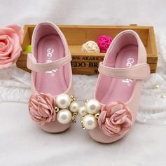 Mädchens Round Toe Mary Jane Leder Flache Ferse Blumenmädchen Schuhe mit Nachahmungen von Perlen Satin Schleife Klettverschluss (207111952)
