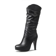 Frauen Kunstleder Stöckel Absatz Absatzschuhe Geschlossene Zehe Stiefel Kniehocher Stiefel Stiefel-Wadenlang mit Schnalle Schuhe (088170981)