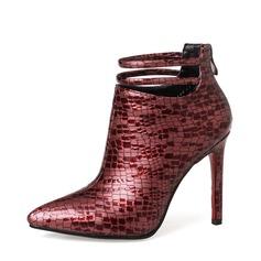 Frauen Microfaser-Leder Stöckel Absatz Absatzschuhe Stiefelette mit Tierdruckmuster Reißverschluss Schuhe (088136947)