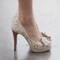 Женщины Кружева Высокий тонкий каблук Открытый мыс Платформа Beach Wedding Shoes с бантом (047126538)