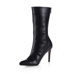 Women's Leatherette Stiletto Heel Mid-Calf Boots shoes (088038177)