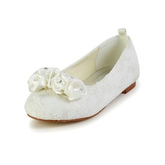 Kids' Lace Satin Flat Heel Closed Toe Flats With Satin Flower (047031816)