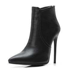 Donna Similpelle Tacco a spillo Stivali Stivali alla caviglia con Fibbia scarpe (088175363)