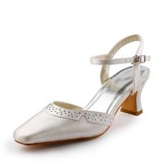 Vrouwen Satijn Chunky Heel Closed Toe Pumps Slingbacks met Gesp Strass (047005173)