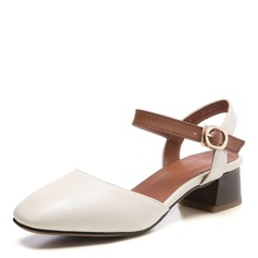 Donna Similpelle Tacco spesso Sandalo Punta chiusa scarpe (085172776)