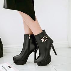 Frauen PU Stöckel Absatz Absatzschuhe Plateauschuh Stiefel mit Schnalle Reißverschluss Schuhe (088137522)