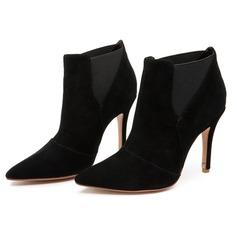 Frauen Wildleder Stöckel Absatz Stiefelette mit Rüschen Schuhe (088106087)
