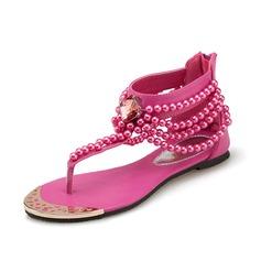 Kunstleder Flascher Absatz Sandalen mit Perlen verziert Schuhe (087063155)