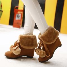 Frauen Veloursleder Keil Absatz Keile Stiefel Stiefelette mit Bowknot Schuhe (088142820)