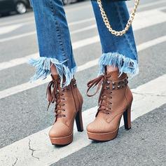 Frauen PU Stämmiger Absatz Absatzschuhe Plateauschuh Stiefel mit Niete Reißverschluss Zuschnüren Schuhe (088137516)