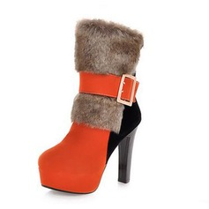 Suede Chunky Heel Platform Ankle Boots With Buckle Fur shoes (088040801)