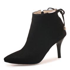 Frauen Veloursleder Stöckel Absatz Absatzschuhe Stiefel Stiefel-Wadenlang mit Zuschnüren Schuhe (088172958)