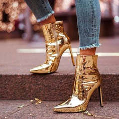 Frauen Lackleder Spule Absatz Absatzschuhe Geschlossene Zehe Stiefel Stiefelette mit Reißverschluss Schuhe (088182658)