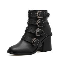 Frauen PU Stämmiger Absatz Stiefel Stiefelette mit Niete Reißverschluss Schuhe (088142495)