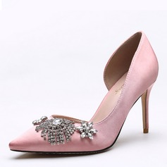 De mujer satén sedoso Tacón stilettos Salón Cerrados con Rhinestone zapatos (085191402)