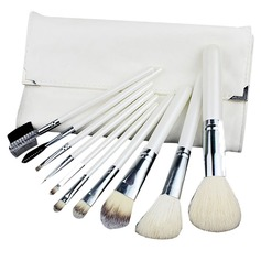 10 Pcs Makeup Brush Set With White Pouch (046049512)
