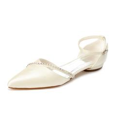 Frauen Satin Niederiger Absatz Geschlossene Zehe Flache Schuhe mit Strass (047062067)
