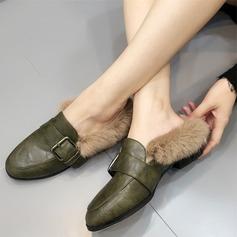 Kvinner Lær Flat Hæl Flate sko Lukket Tå med Spenne Pels sko (086109365)