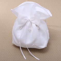 Gorgeous Satin With Bowknot/Imitation Pearl Wristlets/Bridal Purse (012026340)