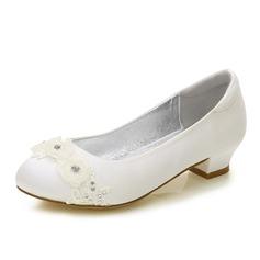 Mädchens Round Toe Geschlossene Zehe Mary Jane Seide wie Satin niedrige Ferse Blumenmädchen Schuhe mit Strass Applikationen (207202103)