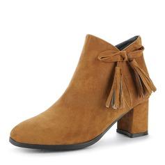 Frauen Veloursleder Stämmiger Absatz Absatzschuhe Geschlossene Zehe Stiefel Stiefelette mit Bowknot Reißverschluss Schuhe (088143637)