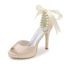 Frauen Satin Stöckel Absatz Peep Toe Sandalen mit Bowknot Nachahmungen von Perlen (047093146)