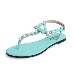Kunstleder Flascher Absatz Sandalen Slingpumps mit Nachahmungen von Perlen Schuhe (087063140)