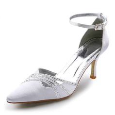 Women's Satin Spool Heel Closed Toe Pumps With Buckle Rhinestone (047005037)
