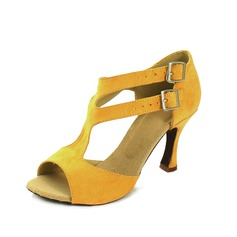 Donna Camoscio Tacchi Sandalo Latino con Fibbia Scarpe da ballo (053057154)