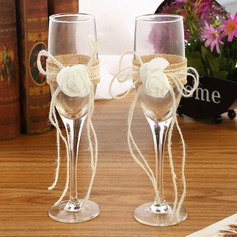 Simple Design/Classic Toasting Flutes With Ribbon Bow (126199808)