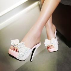 Vrouwen Sprankelende Glitter Stiletto Heel Sandalen Pumps Plateau Slippers met strik schoenen (087124631)