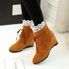 Frauen Kunstleder Flascher Absatz Stiefel mit Bowknot Stich Spitzen Schuhe (088109414)