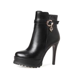 Frauen PU Stöckel Absatz Absatzschuhe Stiefel mit Schnalle Reißverschluss Schuhe (088136938)