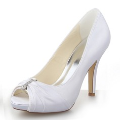 Kvinnor Satäng Stilettklack Peep Toe Plattform Sandaler med Strass (047060557)