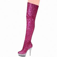 Frauen Funkelnde Glitzer Stöckel Absatz Absatzschuhe Plateauschuh Stiefel Stiefel über Knie mit Funkelnde Glitzer Schuhe (088153061)