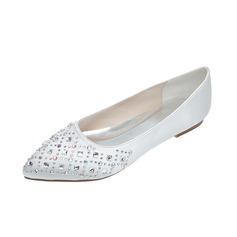 Vrouwen Satijn Flat Heel Closed Toe Flats met Strass (047053909)
