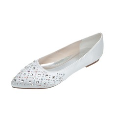 Frauen Satin Flascher Absatz Geschlossene Zehe Flache Schuhe mit Strass (047053909)