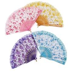 Diseño Floral Plástico/Seda Ventilador de la mano (Juego de 4) (051052608)
