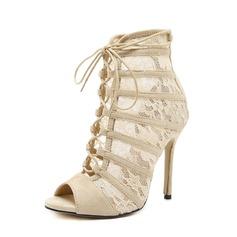 Frauen Veloursleder Lace Stöckel Absatz Absatzschuhe Stiefel Peep Toe Stiefelette mit Reißverschluss Zuschnüren Schuhe (088151859)
