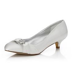 Frauen Satin Niederiger Absatz Geschlossene Zehe Absatzschuhe Färbbare Schuhe mit Strass (047088644)