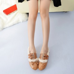 Women's Leatherette Flat Heel Flats With Bowknot Buckle Fur shoes (086113605)