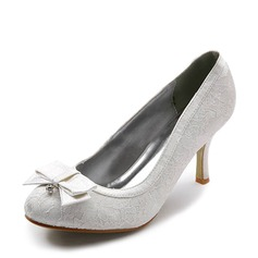 Vrouwen Kant Satijn Stiletto Heel Closed Toe Pumps met Strik Bergkristal Stitching Lace (047005034)