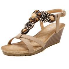 Frauen Kunstleder Keil Absatz Sandalen mit Perlstickerei Schuhe (087093227)