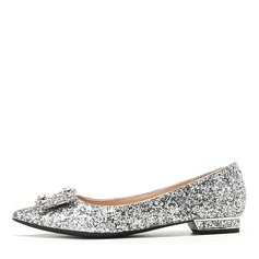 Women's Sparkling Glitter Flat Heel Closed Toe Flats With Sparkling Glitter Crystal (047201448)
