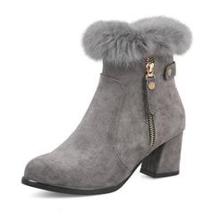 Women's Suede Wedge Heel Boots Closed Toe With Zipper (047190349)