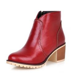 Frauen Kunstleder Stämmiger Absatz Absatzschuhe Geschlossene Zehe Keile Stiefel Stiefelette Schuhe (088100597)