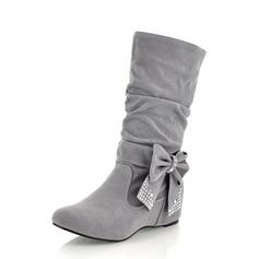 Frauen Wildleder Niederiger Absatz Stiefel-Wadenlang mit Bowknot Schuhe (088059491)